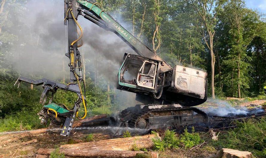Brennende Forstmaschine